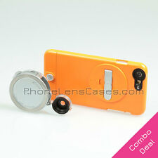 4-in-1 Lens Attachment + Orange Case for Apple iPhone 6 Plus & 6s Plus