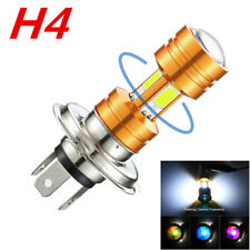 H4 COB LED Motorcycle 360° Headlight Bulb Fog Light White Lamp Flash Lens Tip 1x