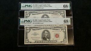 2 CONSECUTIVE 1963 FIVE DOLLAR PMG SUPERB GEM 68 EPQ RED SEAL NOTES $5 BILLS!