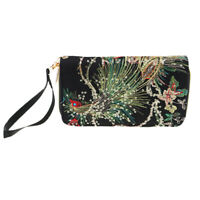 Lady Peafowl Ethnic Embroidered Canvas Handbags Card Holder Case Black