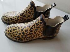 Womens Leopard Print Rubber Low Ankle Rain Boots/Shoes Sz S (5/6)