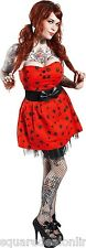 130086 Red with Black Spiders Tangled Web Dress Sourpuss Strapless Goth Small S