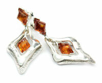 Beautiful 925 Sterling Silver & Baltic Amber Designer Earrings SilverAmber GL013
