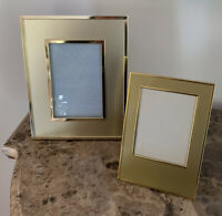 Set of 2 Vintage Gold Metal Picture Frames 3.5x5 and 4x6 MCM