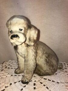 Vtg Mid-Century Shafford Japan Gray White Sitting Poodle Puppy Dog Figurine NICE