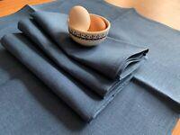 JOWOLLINA  Stoff-Servietten-Set (50x50 cm) 100% Leinen, Blau