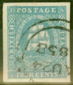British Guiana 1854 4c Blue SG19 Superb Used DEMERARA AU 24 58 CDS 4 Large Ma