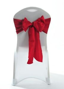 100 Red Taffeta Chair Cover Wedding Sash Bow Wedding Party UK