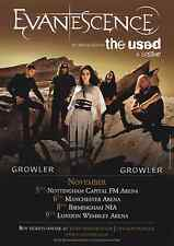 EVANESCENCE - 2012 TOUR FLYER - RARE LIVE CONCERT MUSIC PROMO - AMY LEE THE USED