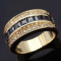 Size 6,7,8,9,10 Jewelry Man Women 18K Black Sapphire Gold Filled Ring Best Gift