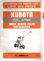 Kubota Model AT25 Walk Behind Tiller Illustrated Parts Manual