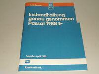 Werkstatthandbuch Instandhaltung genau genommen VW Passat B3 35i, Stand 04/1988