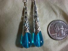 Blue Victorian Filigree Tear Drop Earrings