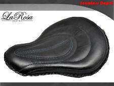 "La Rosa Harley Cross Bones Solo Seat - 16"" Black Leather Tuck & Roll Design"