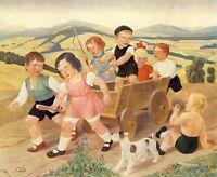 Spielende Kinder Georg Günter Kunstdruck 1936 Mädchen Jungen Spiel children