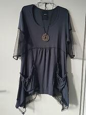 Arte France Designer Tunika Minikleid Viskose Netzeinsätze Gr. 44/48   / S57