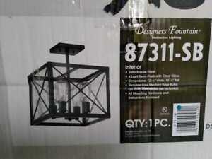 High Line 4-Light Satin Bronze Interior Incandescent Semi Flush Mount Designer F