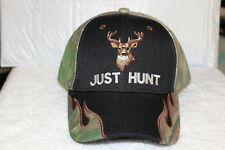 DEER JUST HUNT OUTDOOR HUNTER BASEBALL CAP ( CAMOUFLAGE AND BLACK )