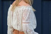 spell and the gypsy collective Rhiannon Cream Lace Top Shirt Blouse