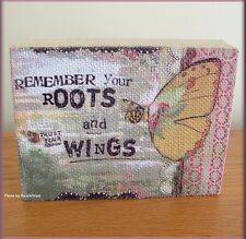 """TRUST YOUR WINGS LINEN WALL ART BY KELLY RAE ROBERTS 8"""" W x 6"""" H FREE U.S. SHIP"""
