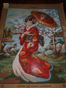 "UNWORKED GOBELIN TAPESTRY CANVAS PRINT ""JAPANESE LADY W/PARASOL""~49cms x 64cms-"