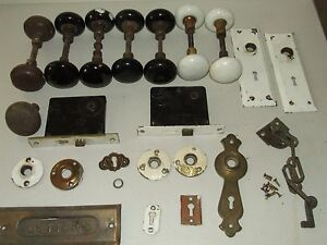 Antique Lot of 15 Porcelain Door Knobs and Hardware from New England Home B&W