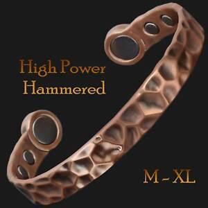 Magnetic Bracelet for Health Copper Bangle Arthritis POWERFUL MAGNETS - Hammered