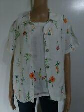 Marc Ware Hot Cotton Linen Floral Pants Set 3 Pcs Sz S Embroidered Detailed Top