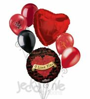 7 pc Sultry Rose Wreath I Love You Heart Valentines Day Balloon Bouquet Be Mine