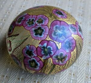 ISLE OF WIGHT GLASS WILD GARDEN,WILD ROSE PAPERWEIGHT.LABELLED.EXCELLENT COND.