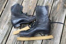 Spalding Brothers Antique Black Leather Ice Skates