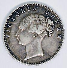 1840 East India Company Victoria Half Rupee British India Silver Coin