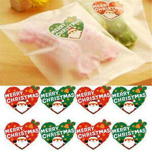 Heart Christmas Santa Claus Gifts Wrapper Paper Label Stickers Bags Candy Tag