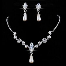 Ladies Women Wedding Bridal Fashion Pearl Bead Crystal Necklace Earring Set UK