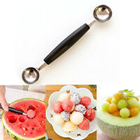 1x Double-end Stainless Steel Melon Ice Cream Baller Scoop Fruit Spoon.z