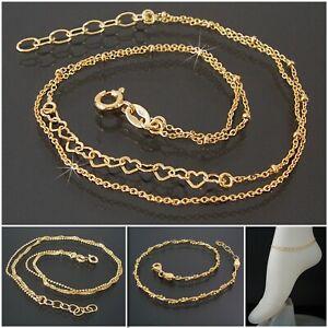Fußkette Schlangenkette Kugelkette Niklarson 925 Silber GOLD 24-27cm Kette VE37