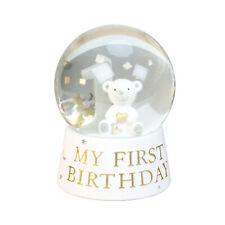 Baby's Birthday Snow Globe - White & Silver - Teddy Bear - My First Birthday