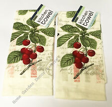 "2 PIECE SET Printed Kitchen Dish Towels Script Red Cherry Butterfly 15"" x 25"""