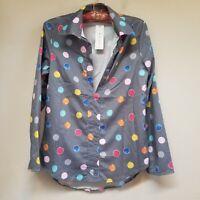 OC Order Plus Women's Gray Polka Dot V-Neck Long Sleeve Top Blouse Sz Small NWT