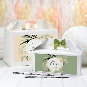 WEDDING GIFT BOXES PERSONALISED | DELICATE BLUSH | NAME PARTY FAVOUR BAG BOX