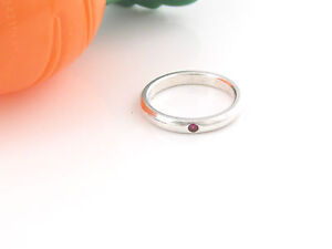 Tiffany & Co Silver Elsa Peretti Red Ruby Stacking Ring Size 6