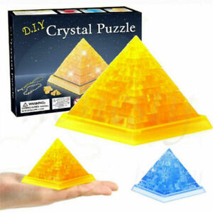 3D Dimensional Blue/Yellow Crystal Pyramid Decoration Puzzle Model Toys Gift