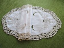 VINTAGE TABLE CENTER-HAND EMBROIDERED with BOBBIN LACE TRIM