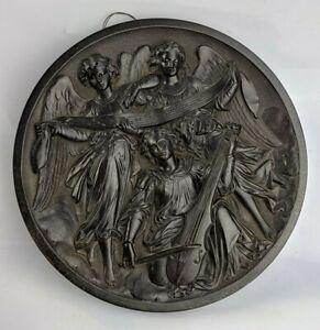 Antique Vulcanite / Gutta Percha Plaque three Musical Angels - Victorian FINE