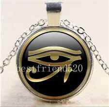 Gold Eye Of Ra Photo Cabochon Glass Tibet Silver Chain Pendant Necklace