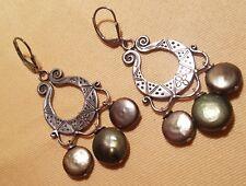 Chandelier Earrings 925 Sterling Silver & Pearls Handmade One-of-a-Kind