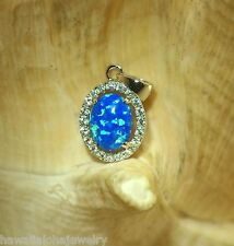 9.5MM RHODIUM PLATED OVER SOLID STERLING SILVER OVAL OPAL DESIGNER CZ PENDANT