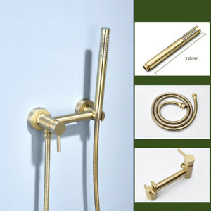 Brushed Gold Mixer Shower Faucet Valve with Hand Shower Wall Mount Solid Brass