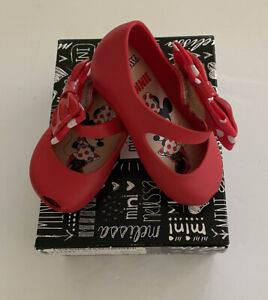 Mini Melissa Minnie Mouse Disney Ultra Bow Mary Jane Shoes Size EUR 21 US 6