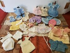 Antique/Other All Bisque Doll Crocheted Clothes, etc. 35 pcs